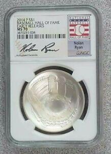2014 P $1 Silver Baseball Hall of Fame Early Releases NGC MS70 Nolan Ryan