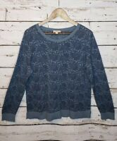Loft Floral Pullover Sweater Blue Scoop Neck Womens XL Casual