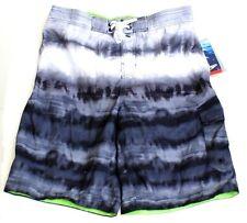 Speedo Black & Gray Tie Dye Stripe E-Board Brief Lined Boardshorts Men's S  NWT