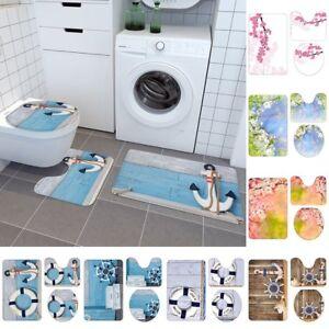 3Pcs Waves Nautical Bathroom Non-Slip Pedestal Rug+Lid Toilet Cover+Bath Mat Set