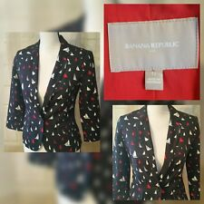 Banana Republic $99 Nautical Sailboat Blazer Jacket Sz 0 Navy Red Womens d