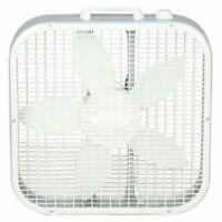 Lasko 20 in. 3-Speed Box Fan White w/ 3 Quiet Speeds Floor Built-in Carry Handle