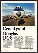 "1968 Douglas Super DC-8 Jetliner Smiling photo ""Genial Giant"" vintage print ad"