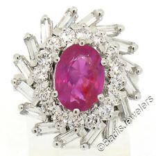 18k White Gold 3.98ctw GIA No Heat Burma Burmese Pink Sapphire & Diamond Ring