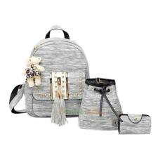 3pcs Women's Backpack Shoulder Bag PU Leather Tassel Tote Handbags Satchel Purse