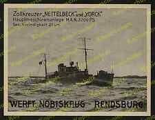 Reklame Werft Nobiskrug Rendsburg Zollkreuzer Nettelbeck Stolpmünde Ostsee 1938