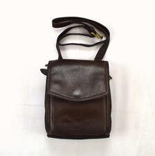 FOSSIL Full Grain Brown Leather Cross Body Shoulder Bag Organizer Purse Satchel