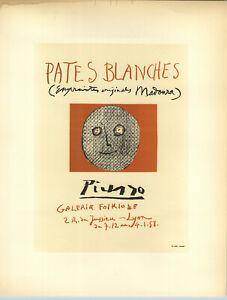 1959 Mini Poster Pablo Picasso Lithograph Pates Blanches ORIGINAL Print