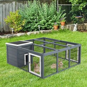 Large Rabbit Hutch Small Animal House Pet Cage Carrier Coop Wood With Roof✓