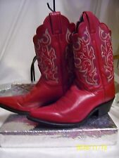 JUSTIN BOOTS women bay apache western boots 7-1/2 B red embroidered leather used