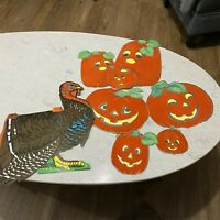 Vintage Thanksgiving Turkey Honeycomb Centerpiece and Flocked Jack O Lanterns