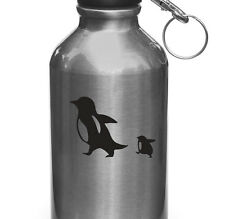 """WB - Penguin Mom & Baby D1 - Water Bottle Decal Sticker ©YYDC (3""""W x 2""""H)(BLACK)"""