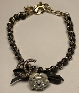 Vintage Chanel Black Leather Charm Signature Flower Gold Tone Bracelet