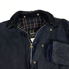 Men's Barbour Border Waxed Jacket Waterproof Casual Blue Size - C46 / 117CM