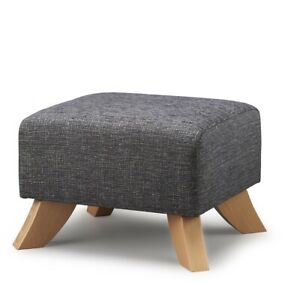 BIAGI UPHOLSTERY & DESIGN Elephant Grey Footstool with Solid Wood Curved Legs