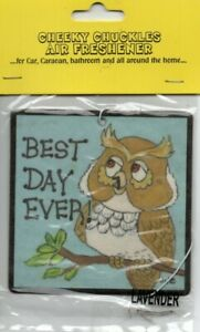 CHEEKY CHUCKLES - CAR AIR FRESHENER - LAVENDER - OWL - BEST DAY EVER