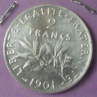 2 Francs Semeuse 1901 : TTB+ : pièce de monnaie Française ARGENT N10