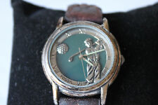 Vintage Fossil Golfer Special Edition Brown Leather Band Watch SE-1018