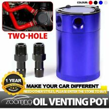 Universal 2-Port Baffled Aluminum Oil Catch Can Tank Air Oil Separator For Car