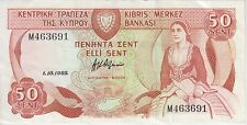 CYPRUS BANKNOTE P52-3691 50 CENT 1.10.1988, VF+