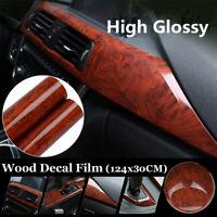 DIY Film Wrap Glossy Wood Grain Vinyl Sticker Decal Roll For Auto Interior Decor
