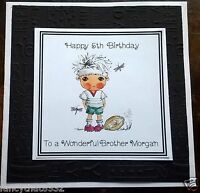Handmade Personalised Birthday Card ANY AGE Boy Grandson Son Brother Rugby 4 5 6