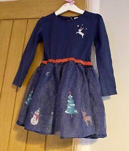 TU Girls Beautiful Blue Tutu Santa Reindeer Christmas Dress Age 4-5 Years 🎄🎅🏻