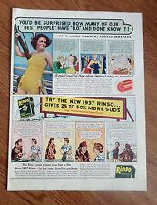1937 Lifebuoy Soap Bar & Rinso Granulated Soap Ad Mitzi Garner Cruise Hostess