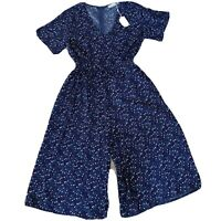 Blue Soul Size L Navy Blue Patterned Short Sleeve Jumpsuit Romper Women's