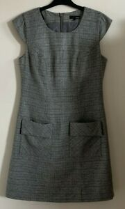 Next Size 10 Ladies Grey & Brown Check Dress With Pockets, Wool Blend