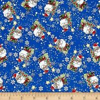 Christmas Jolly Santas Blue  Fabri-quilt 100% cotton fabric by the yard