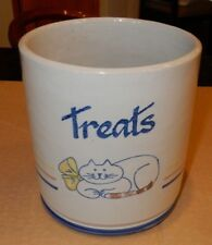 Louisville Stoneware Kentucky Cats Cat Treats Canister Cookie Jar No Lid - EUC