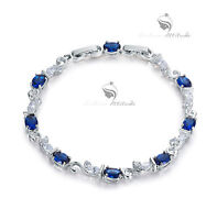 18k white gold gf made with SWAROVSKI crystal clear blue oval chain bracelet