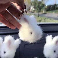 White -Real Mink Fur Rabbit Bunny Bag Phone Charm Pendant Car Keychain Keyring
