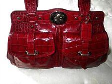Rare COACH Ltd Ed Red Croc Embossed Leather XL Garnet ELLA Tote Bag Satchel WOW!
