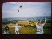 POSTCARD SUSSEX KITE FLYING ON THE DOWNS