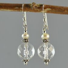 Sterling Silver Natural Clear Quartz Faceted Dangle Earrings