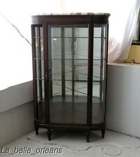 SUPERB FRENCH EMPIRE CORNER SHOWCASE CURVED GLASS