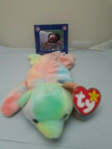 "Ty Beanie Babies 1998 Chicago Cubs ""Sammy the Bear"" Sosa w Commemorative card"