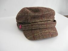 Hatattack Herringbone Plaid Yacht Cap with self band and button brown