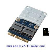 Mini PCI-E PCIE Memory Card Adapter PCI-E to Dual TF SDHC SDXC Reader Converter