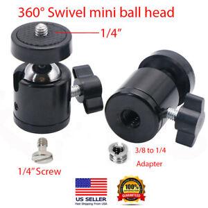 """SET OF TWO 360° SWIVEL MINI BALL HEAD 1/4"""" SCREW MOUNT BRACKET HOLDER FR DSLR"""