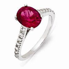 Cheryl M Sterling Silver Ruby & CZ Ring Size 7 #839