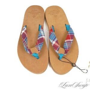 NWT Brooks Brothers Made in USA Americana Collection Aqua Madras Flip Flops 10