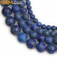 """Natural Forested Matte Stone Blue Lapis Lazuli Beads For Jewelry Making 15"""" DIY"""