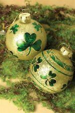 Victorian Trading Co 2 O' Reilly's Orb Shamrock Irish Christmas Ornaments