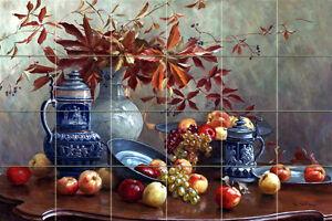 Art Severin Roesen Apples Flowers Ceramic Mural Backsplash Bath Tile #1807