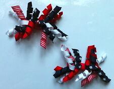 GYMBOREE Capelli Clip x 2-Rosso, Bianco e Blu Navy con stelle, NUOVO
