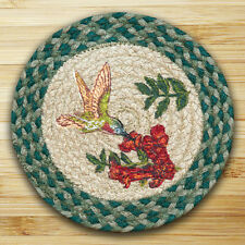 "HUMMINGBIRD 100% Natural Braided Jute Swatch, 10"" Trivet/Placemat, Earth Rugs"