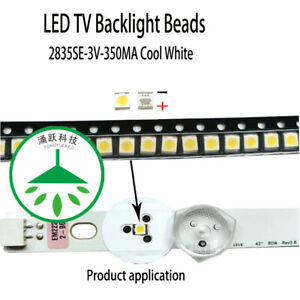 100pcs led 2835 3v 1w Lamp beads cool white for repair tv lcd backlight strip